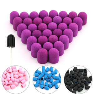 50pcs 10*15mm Nail Sanding Caps Electric Plastic With Grip Drill Foot Cuticle Milling Block Polishing Accessories Pedicure Tools