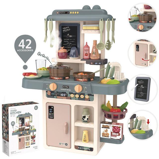 42Pcs Kid Kitchen Toy Simulation Kitchen Toy Spray Water ABS Dinnerware Pretend Play Kitchen Cooking Table Set Children's Gift