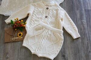Image 5 - Filles vêtements ensembles pur coton tricot costume à manches longues veste Shorts deux pièces filles vêtements filles vêtements ensembles