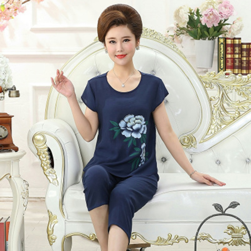 Mother's Casual Sleepwear Pajamas Sets Casual Wear Home Service Suit Plus Size 4XL Nighwear Outfits