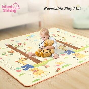 Alfombra infantil brillante de 200x180x1,5 CM para juegos de bebés, alfombra antideslizante de dibujos animados respetuosa con el medio ambiente EPE para niños, alfombra para sala de estar