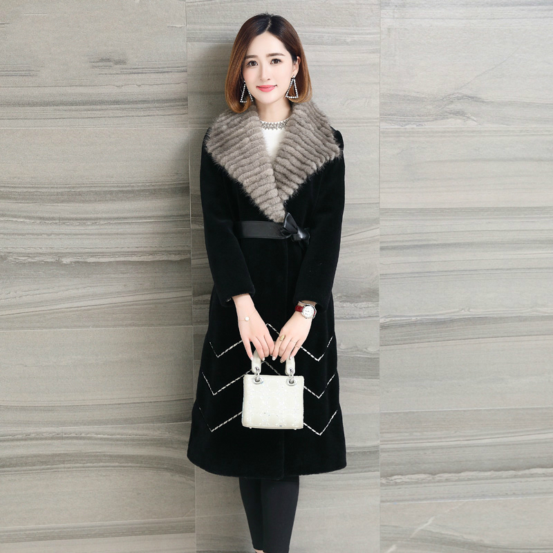 Wool Real 2020 Fur Coat Sheep Shearling Coats Long Warm Winter Jackets For Women Natural Mink Knitted Fur Collar Y826        S