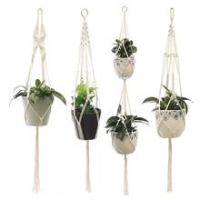 Hanging-Baskets Flowerpot Plant-Hanger Macrame Indoor 100%Handmade