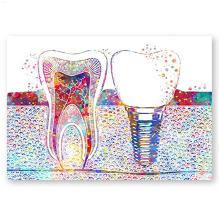 Watercolor Tooth 5d diy diamond painting square round mosaic diamond Embroidery cross stitch dentist gift dental clinic decor(China)