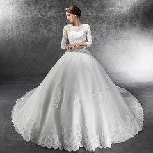 3/4 рукава бальное платье роскошное свадебное платье размера плюс Robe De Mariee Аппликации Свадебные платья Vestido De Novias платья невесты