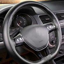 Housse de volant de voiture tressée, 38cm, couverture de volant pour Volkswagen, VW Golf T5 Scirocco Polo, Jetta Amarok