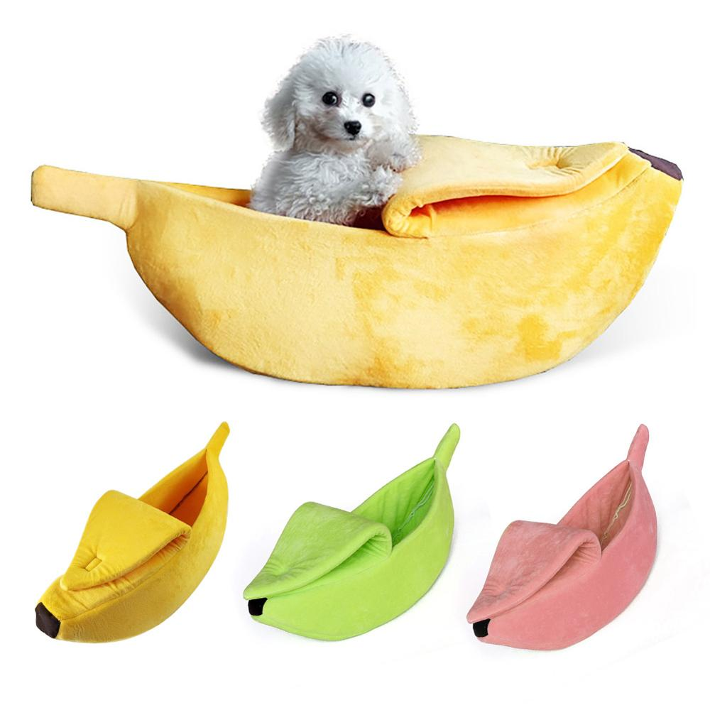 Portable Banana Cat Bed House Cozy Puppy Cushion Kennel Warm Pet Sofa Basket Supplies Mat Beds for Cats Puppy Dog House