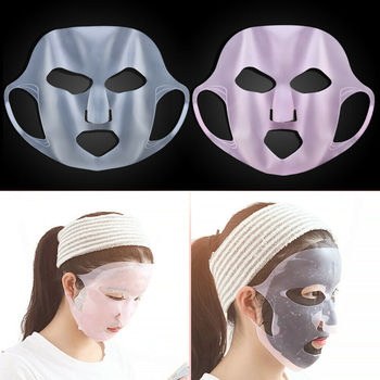 Reusable Ear-Hook Silicone Facial Mask Cover Prevent Serum Evaporation Face Lifting Mask Beauty Face Skin Care Tools Thin Face image