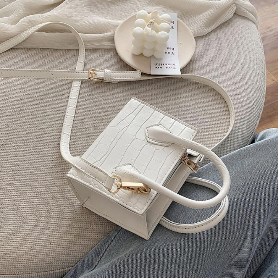 Stone Pattern Mini Square Tote Bag 2020 Summer New High Quality Leather Women's Designer Handbag Travel Shoulder Messenger Bag