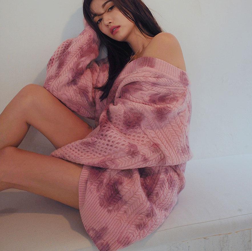 Print V Neck Pink Oversized Pullover Women Knitted Sweater Off Shoulder Korean Style Loose Autumn Lazy oaf Harajuku Blue Jumper