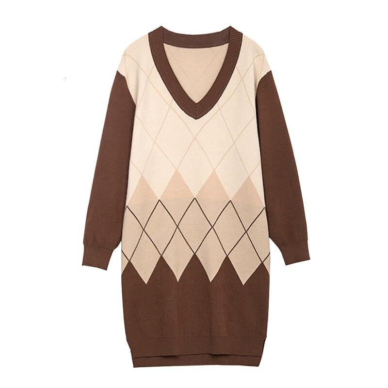 Image 5 - Большие размеры, пуловеры с узором в виде Аргайл, длинные свитера  для женщин, модное вязаное платье с v образным вырезом, винтажный  лоскутный Женский вязаный джемперПуловеры