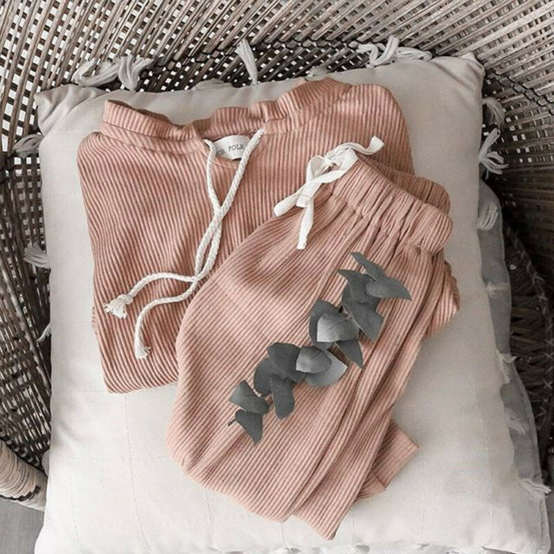 2PCS Kids Baby Girls Toddler Corduroy Shirt Tops+Pants Leggings Clothes Sets