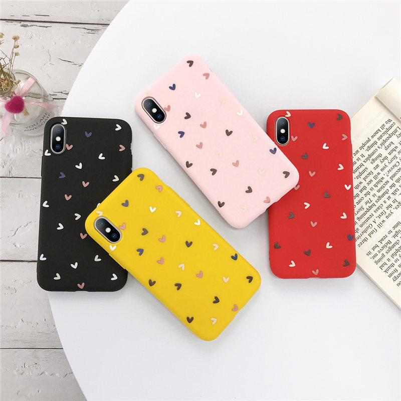 Silicone Love Heart Phone Case For Iphone 11 Pro X XR XS Max 7 8 6 6S Plus 5 5S SE 2020 Candy Color Soft TPU Back Cover