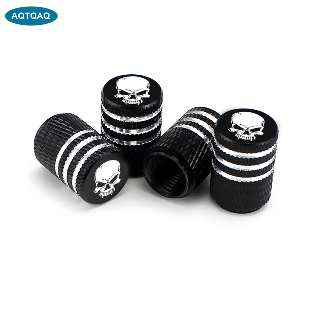 4Pcs/Set Car Tire Valve Stems Cap Knurling Style Skull Tire Valve Cap Aluminum Tire Wheel Stem Air Valve Caps Dustproof Caps