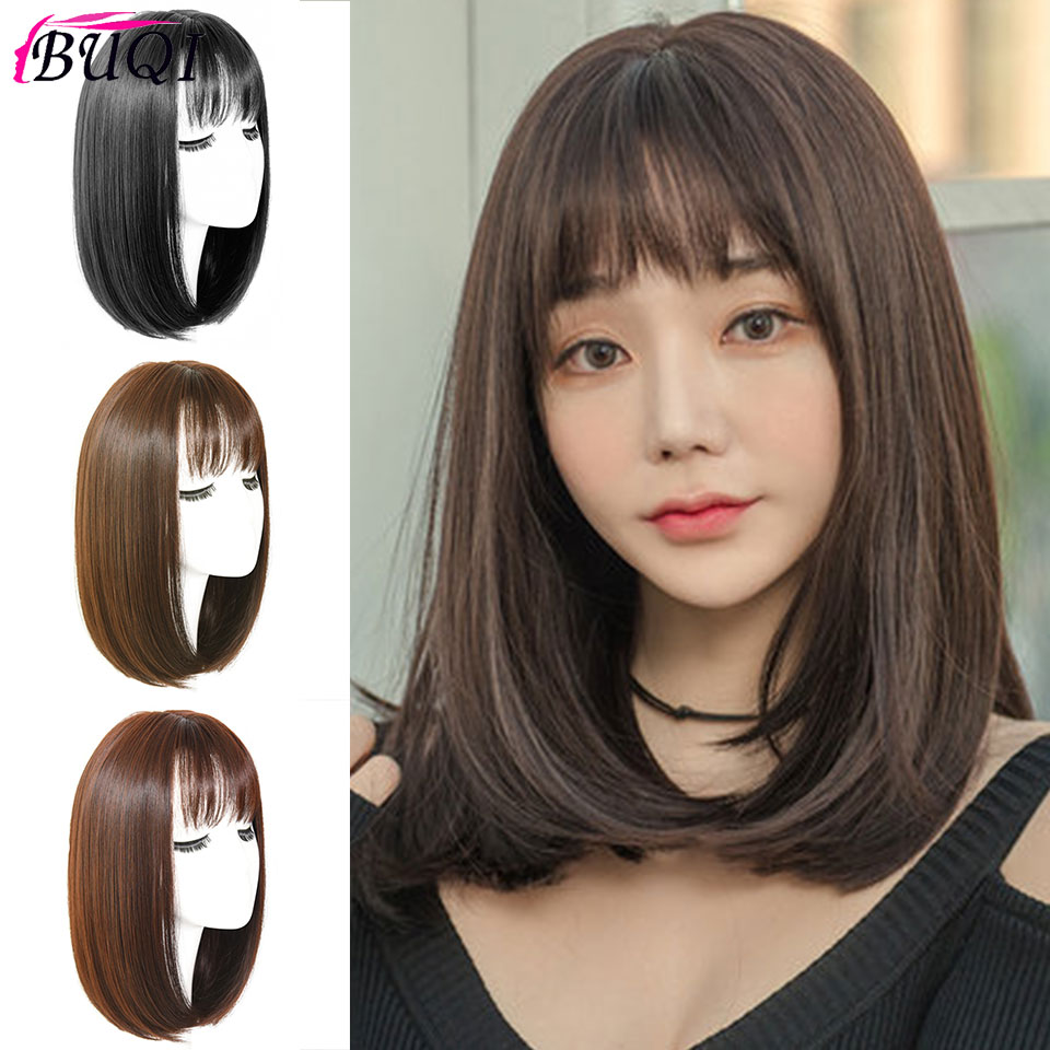 BUQI Long Synthetic Wigs For Women Bob Style Straight Black Brown Wigs 3 Color A Wig Used To Increase Hair Volume