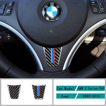 Carbon Fiber Car Accessories Interior Steering Wheel Protective Decoration Cover Trim Stickers For BMW 3 Series E90 2005-2012 image