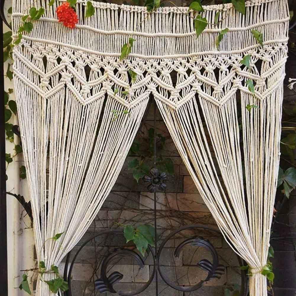 Занавеска из хлопчатобумажной смеси размером 95x180 см, домашний декор, большой тканый макраме, настенный подвесной гобелен, фон для свадьбы, с...