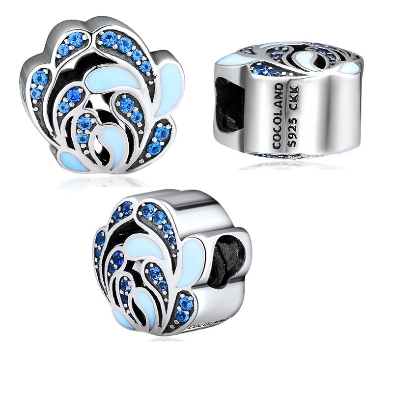 Blue Beads 100% 925 Sterling Silver Spraying Flowers Charm for Jewelry Making Fit Charms Bracelets free shipping YCK112