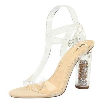 PQECFS Big size 34-43 high quality 2020 summer new fashion women solid platform high heel sandals 9 colors