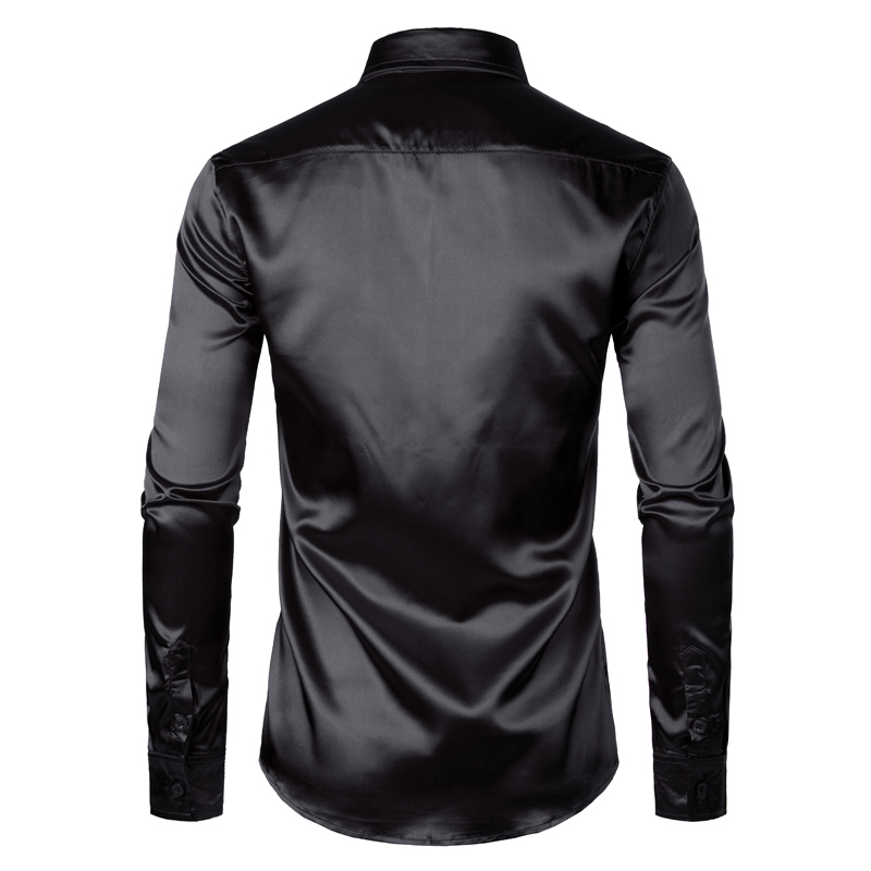 Haf80045a0a2c419eb7a4966cba2a26f4C Men's Black Satin Luxury Dress Shirts 2020 Silk Smooth Men Tuxedo Shirt Slim Fit Wedding Party Prom Casual Shirt Chemise Homme