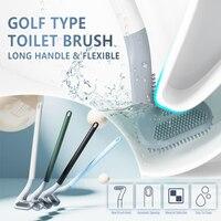 Mini cepillo de limpieza de inodoro de mango largo, cepillos de silicona para baño, cepillo de limpieza de inodoro, cabezal de cepillo de silicona flexible