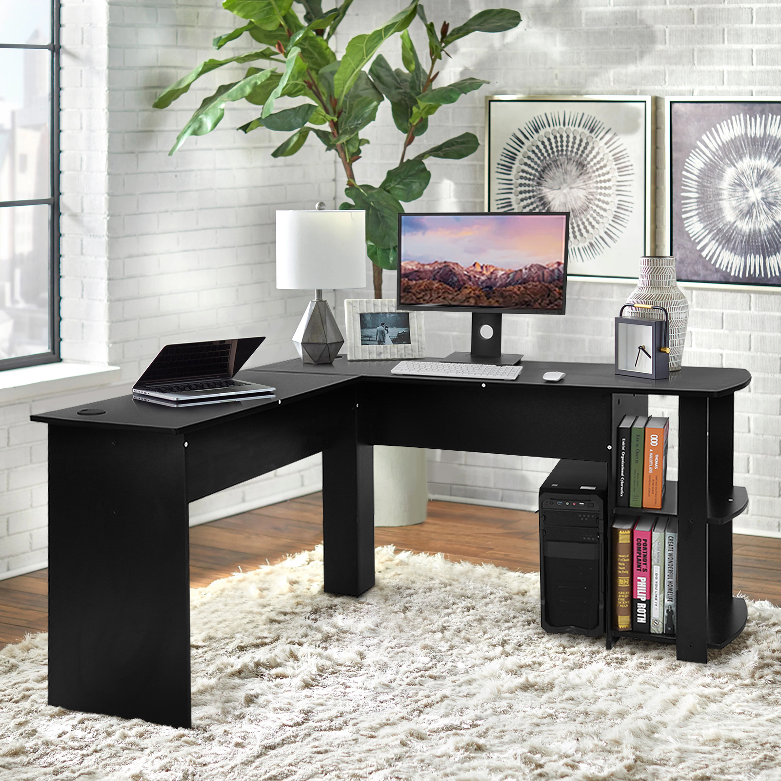 Utility Wooden Computer Desk Workstation L-Shaped Study Writing Desk Computer PC Laptop Table Workstation Dining Gaming Table
