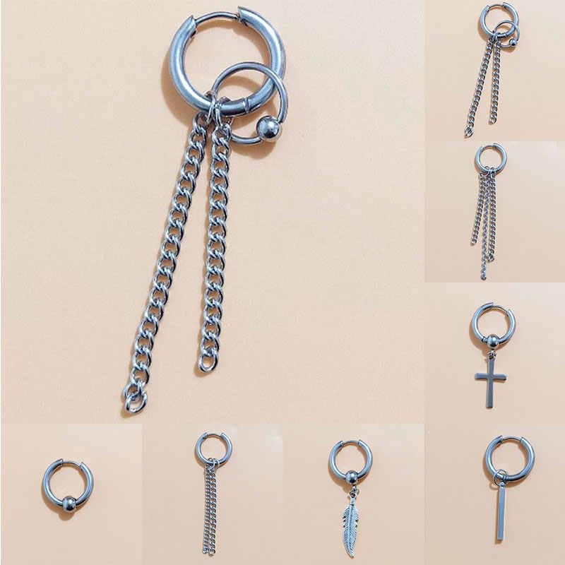 1 قطعة رجال نساء موضة كوريا مجوهرات الفولاذ المقاوم للصدأ القرط العصرية أسلوب بسيط الشرير التيتانيوم الصلب شرابة سلسلة القرط