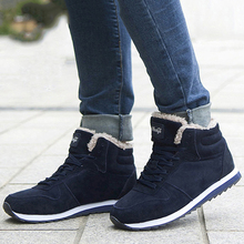 Winter Boots Men Fashion Fur Flock Shoes Snow Leather Ankle Warm Casual Sneakers 37-46