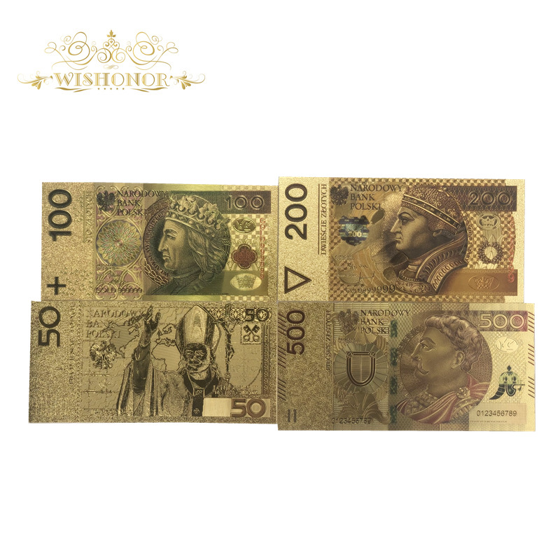 1 set of Nice Poland Banknote 50 100 200 500 PLN Gold Banknote For Collection 999 Gold. POLYMER Free Plastic Sleeve
