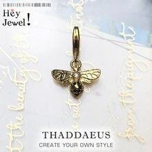 925 Sterling Silber Schöne Gold Farbe Bee Tier Anhänger Charme für Frauen Edlen Schmuck Fit Armband Halskette