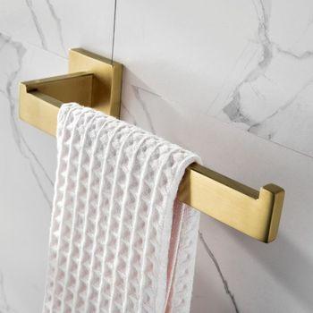Wieszak na ręczniki Tuqiu naścienny szczotkowany złoty wieszak na ręczniki łazienka 304 wieszak na ręczniki ze stali nierdzewnej matowy czarny wieszak na ręczniki tanie i dobre opinie Miedzi Fasion Pojedyncze Polerowane Wieszaki na ręczniki 50 cm MY-TB205041