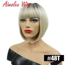 Aimolee Short Straight Blonde Ombre Bob Dark roots Wig Heat Resistant Synthetic Hair Wig for Women стоимость