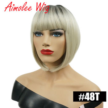 Aimolee Short Straight Blonde Ombre Bob Dark roots Wig Heat Resistant Synthetic Hair Wig for Women