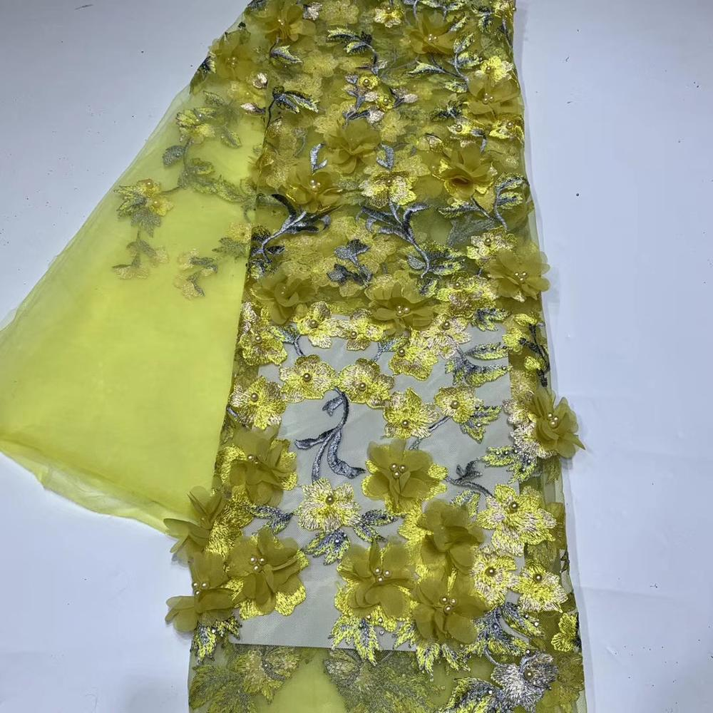 Yellow Color African Fabrics 3d Flower Lace Embroidered French Fabric For Aso Ebi TS9050