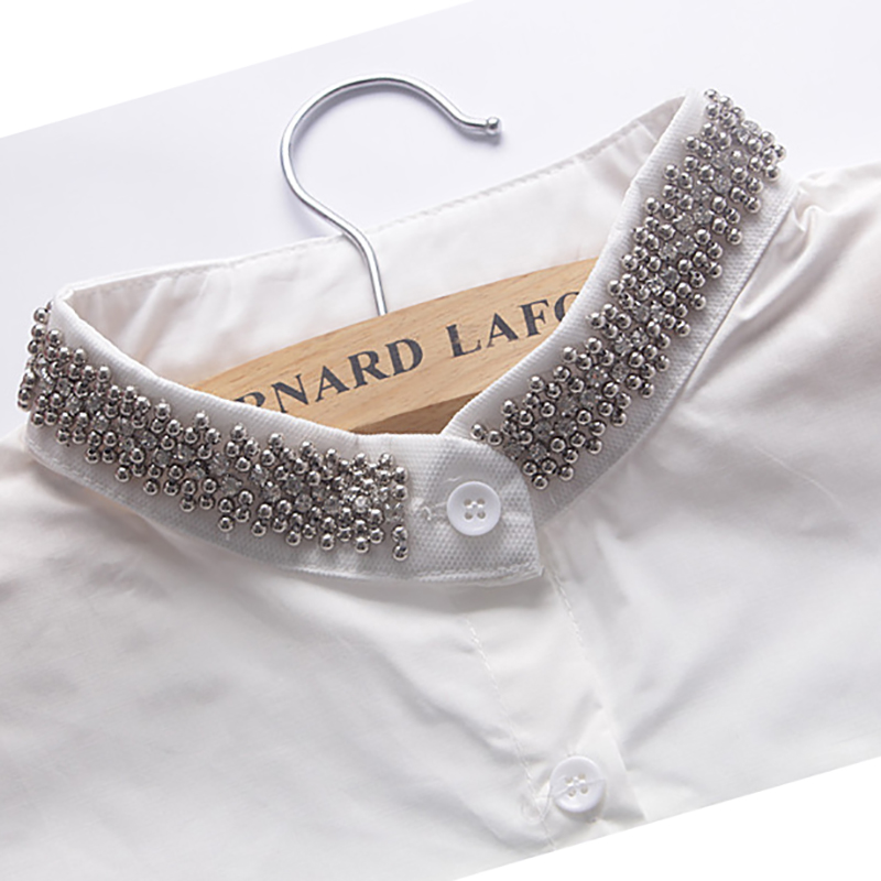 Silver Beads Stand Women Fake Collars Bluz For Accessories  Callar-less Clothes  Half Tops Detachable Removable False Collar