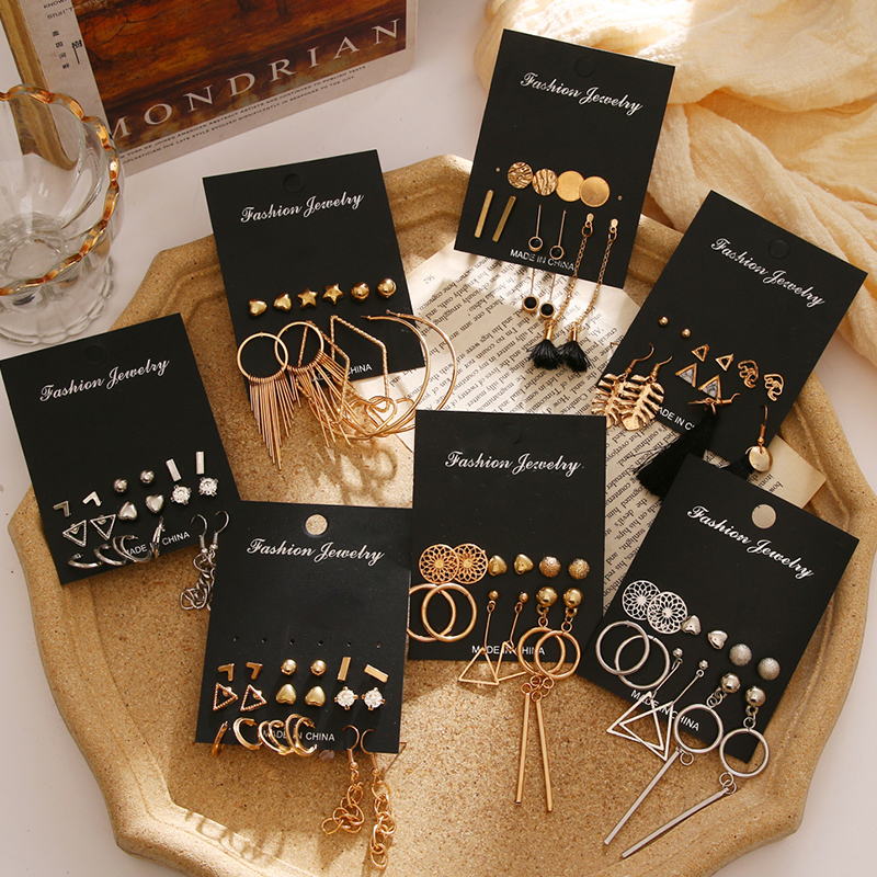 FAMSHIN Gold Sequin Metal Geometric Drop Earring Set For Women Black Irregular Round Crystal Dangle Earrings Brincos Jewelry New