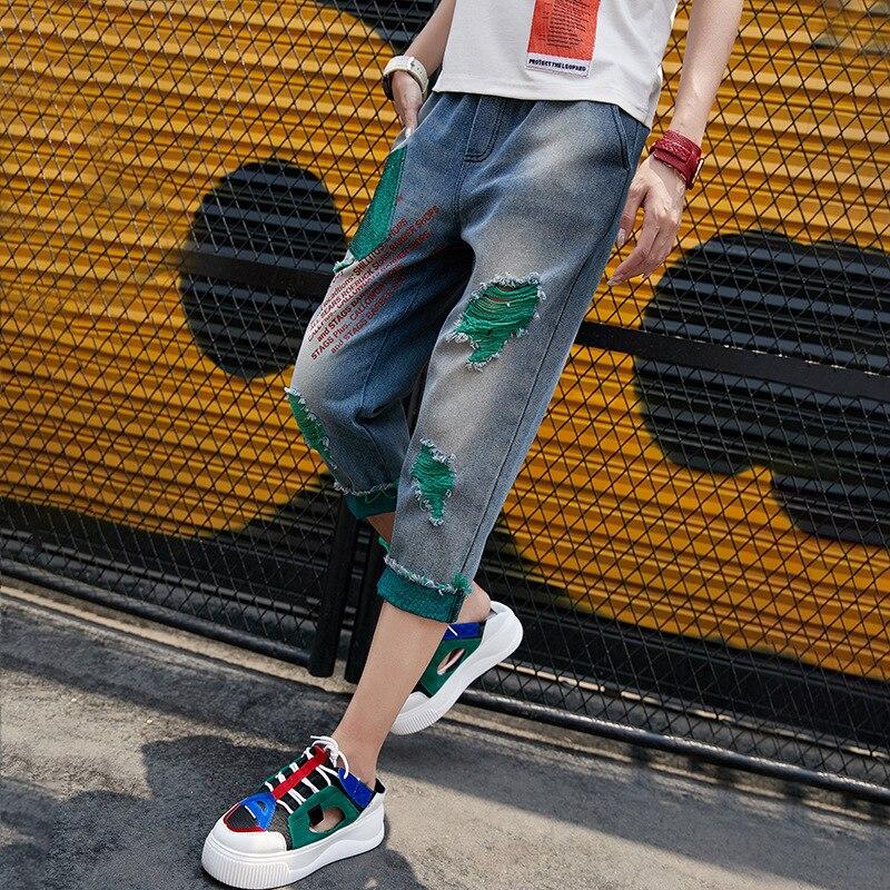 2020 New Women Frayed Tassel Embroidery Letters Jeans Streetwear Summer Casual Denim Calf-Length Pants Zipper Straight Jeans