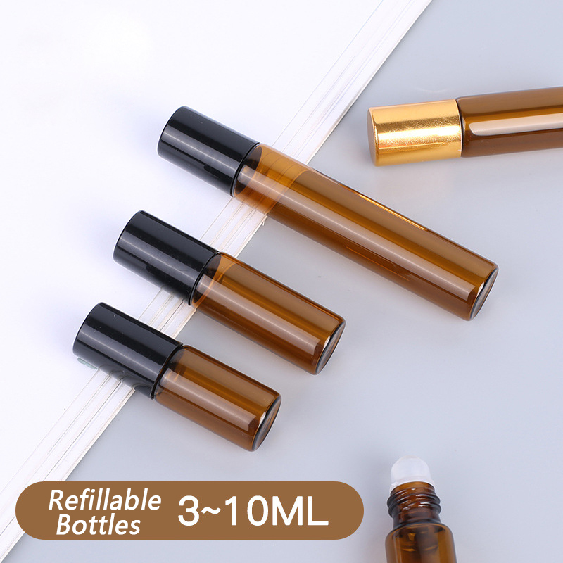 3/5/10ml Portable Amber Transparent Thick Glass Roller Rollerball Essential Oil Bottles Mist Container Travel Refillable Bottle