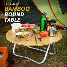 Half Folding Round Table Camping Barbecue Picnic Table Portable Foldable Outdoor Table Aluminium Alloy Table Bamboo Board Table