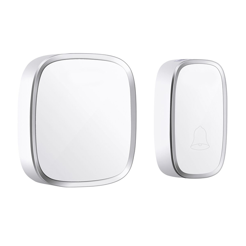 AMS-Ip44 Waterproof Wireless Doorbell 280M Range Smart Home Door Bell Chime Ring 1 Button 1 Receiver Vc110-220V(Us Plug)