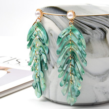 ZA New Arrive Statement Acrylic Drop Earrings Long Leaf Shaped Fashion Trend Brincos Bijoux For Women Girls Party Gift