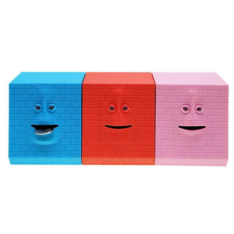 Mini cara mágica dinheiro bancário comer moeda piggy face caixa de banco automático comer poupança moeda facebank brinquedos para crianças presente