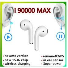 I90000 max earphon com renomeado, segunda geração earpho com fio, carregamento de ss, bluetooth, gps posicionamento pk i99999 plustws