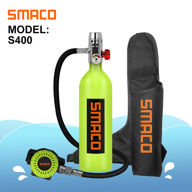 Smaco S400/S400Plusミニスキューバダイビングタンク機器、シリンダーと16分能力、1リットル容量詰め替えデザイン