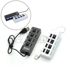 цена на HOT SELL 4 Ports USB 2.0 High Speed Hub ON/OFF Indicator Led Sharing Switch For Office Family Laptop/Tablet  PC Brand New