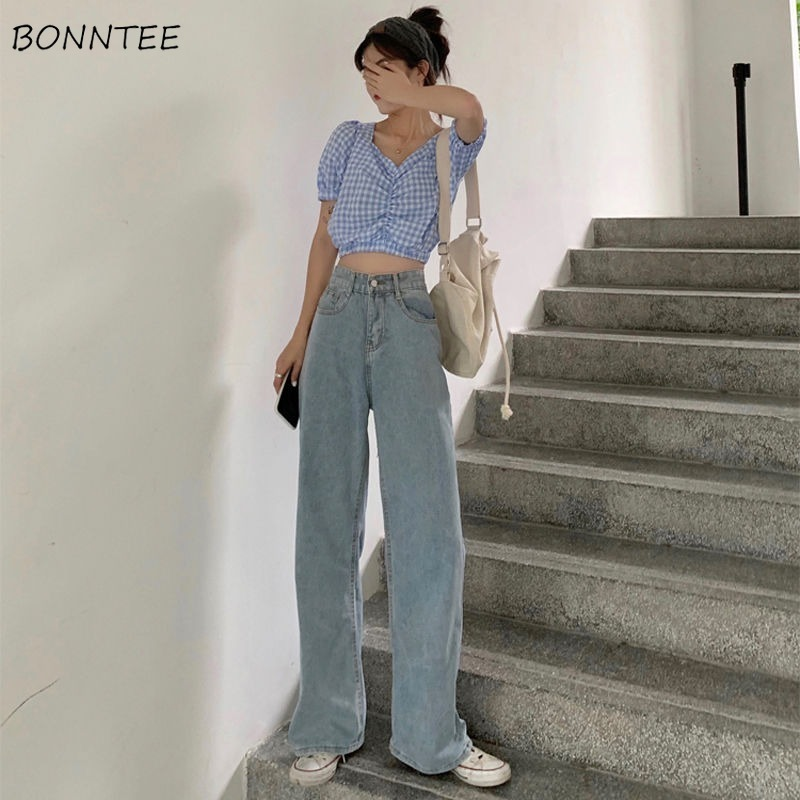 Jeans Women Full Length Wide Leg Denim Solid Vintage High Waist All-match Womens Trousers Fashion Korean Chic Daily Leisure New