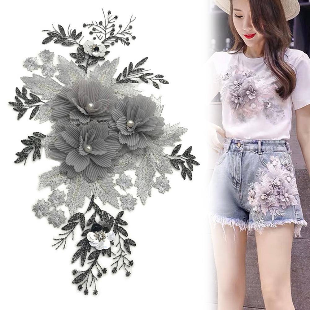 Beaded Flower Lace Embroidery Patch Sticker Clothes T-shirt DIY Sewing Applique Cute Patches On Clothes DIY Accessory