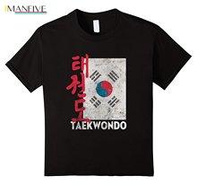 цена 2019 Hot Sale 100% Cotton Taekwondo T-Shirt - Korean Flag Taekwondo Shirt Summer Style Tee Shirt онлайн в 2017 году