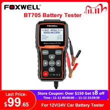 Foxwell probador de batería de coche BT705, 12V, 24V, Analizador de batería de coche, sistema de diagnóstico, herramienta Regular inundada AGM, tipo GEL, Analizador de batería de camión y coche