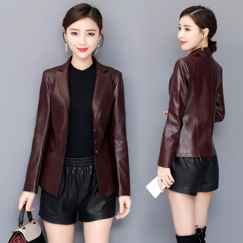 Plus Size Women's   Leather   Jacket Spring 2019 New Female   Leather   Clothing Short Slim Motorcycle   Leather   Coat Women Outerwear Red